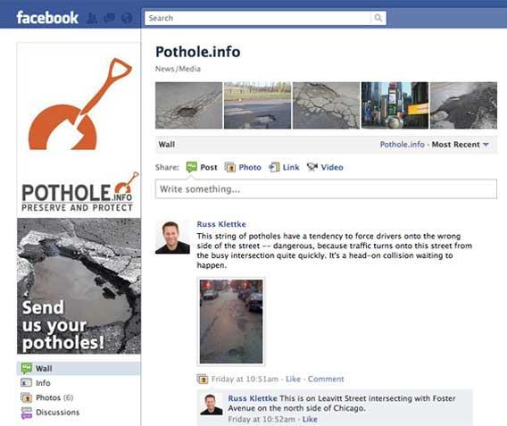 Show us your potholes on the Pothole.info Facebook page